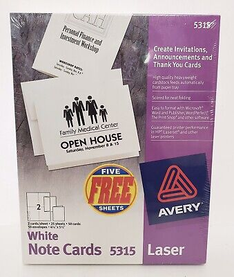 Avery Printable Note Cards Laser Printers 50 Cards And Envelopes 4.25 X 5.5