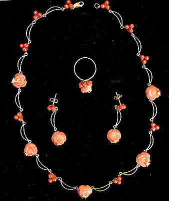 18K Solid Rose Gold and Natural Untreated Coral Necklace, Earrings & Ring Set