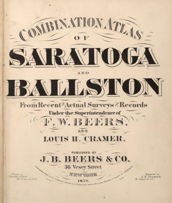 1876 Atlas SARATOGA BALLSTON maps plat NEW YORK old GENEALOGY LAND OWNERS DVD