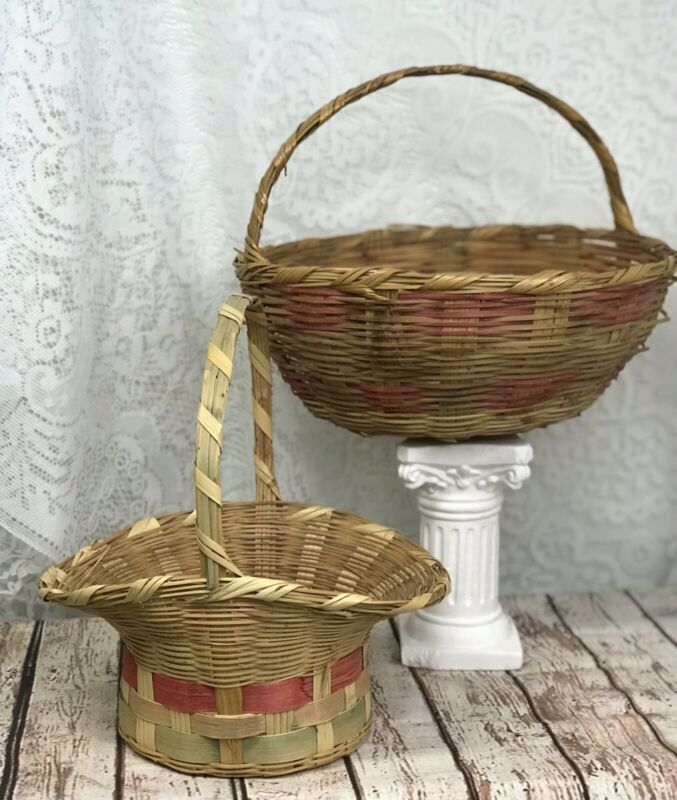 Vintage Woven Wicker Bonnet Easter Basket Mexico Green Band Large Round Handle 2