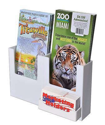 Two Pocket Wall-mount Brochure Holder For 4w Literature With Atta White Acrylic