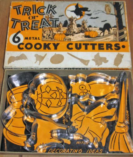 Vintage Halloween Trick or Treat Cooky Metal Cookie Cutters & Box FREE SHIP