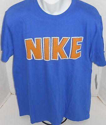 NIKE Men's Blue Logo Short Sleeve Regular Fit Tee Shirt Size L