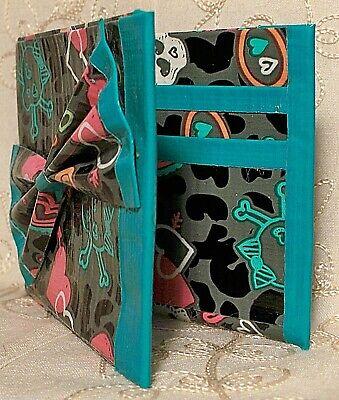 Handmade Duct Tape Wallet Women's Blue 4 Slot Bi-Fold Removable Bow Skulls Heart - Duct Tape Bow