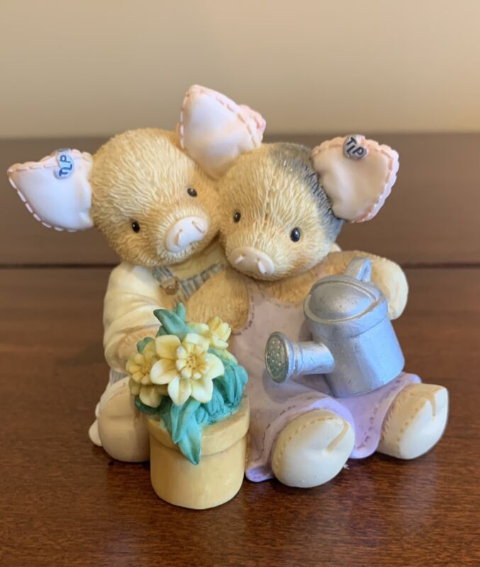 Vtg 1995 ENESCO This Little Piggy Resin Figurine OUR LOVE IS GROWING Springtime