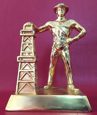 Gold Oil Derrick - Vintage 4 Pound Gold Plated Oil Derrick & Roughneck Statue Desk Paperweight ?