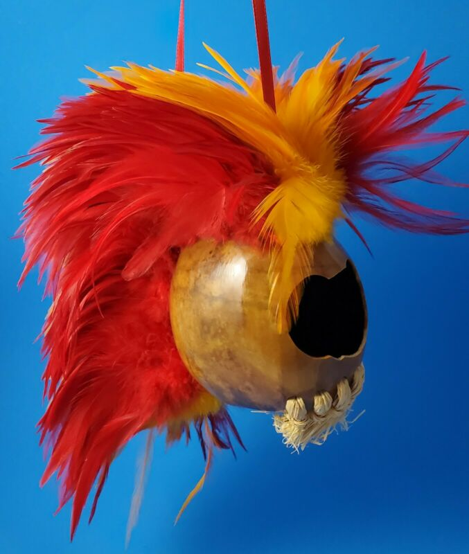 Handmade Small African Mask with Colorful Feathers Collectable Souvenir Decor