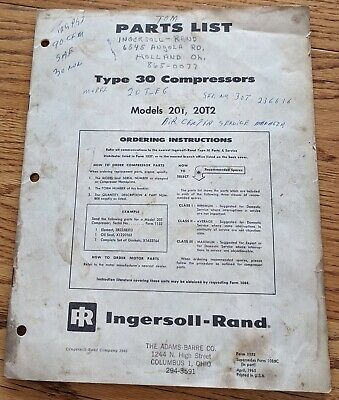 Ingersoll Rand Parts List Model 20t Type 30 Air Compressor Manual Vintage 1965
