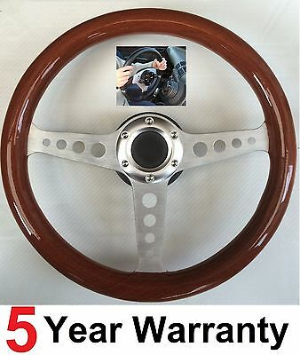 WOOD RIM WOODEN STEERING WHEEL & SNAP OFF QUICK RELEASE BOSS HUB KIT FIT BMW E36