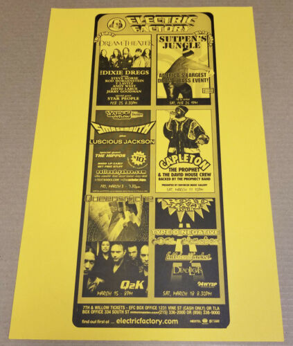 DIXIE DREGS Queensryche SMASHMOUTH Capleton more Original 2000 Concert Poster