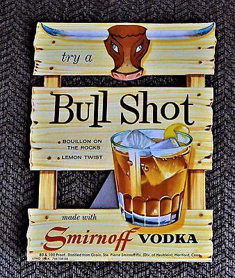 VTG 1958 Advertising Bull Shot Smirnoff  Vodka Easel Display 766-105-58  NOS
