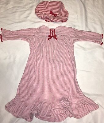 Toddler Cap And Gown (Vintage Alexis Baby Gown 18-25 Lbs Large L Pink Red White Stripes Night Cap)