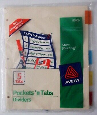 Avery Insertable Dividers With Pockets 5 Multicolor Tabs Model 81009