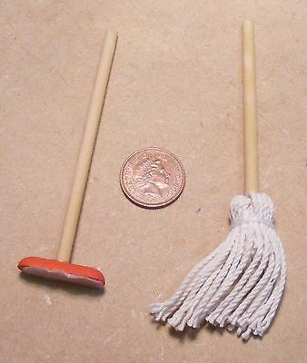 1:12 Scale Kitchen Cleaning Set Mop & Squeegee Tumdee Dolls