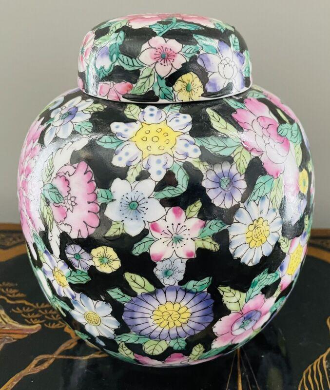Zhongguo Jingdezhen China Famille Noir Ginger Jar Black Floral