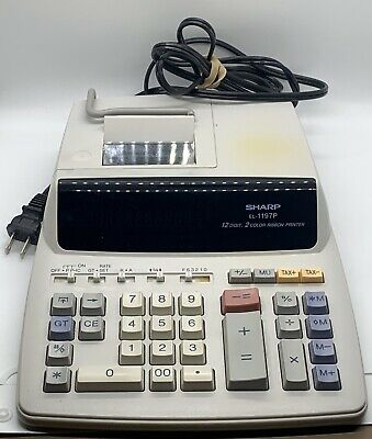 Sharp El-1197p Large 12 Digit 2 Color Ribbon Printer Desk Calculator Tested