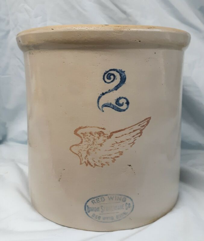 Antique Red Wing Union Stoneware 2 Gallon Crock w/ 4 inch Wing