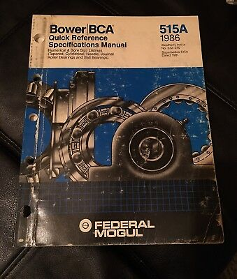 Bower Bca Master Bearing Interchange 525 1984 Vintage Parts. Body Shop