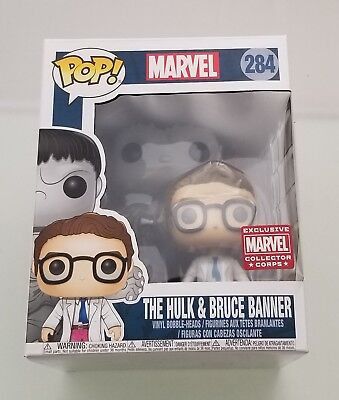 Funko Pop  The Hulk And Bruce Banner 284 Marvel Collector Corps Exclusive 2 Pack