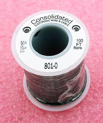 Solid Core BLACK Wire 22 Gauge 100ft Spool ( JW100BK )