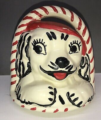 VINTAGE 1930'S AMERICAN BISQUE RED AND WHITE DOG IN BASKET COOKIE JAR LID ONLY