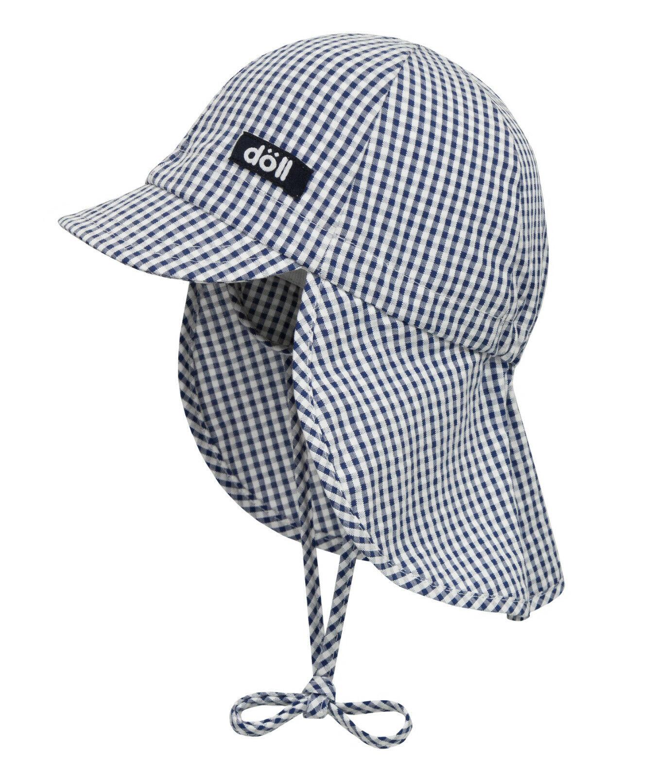 DÖLL® Baby Sonnenhut Hut Nackenschutz Mütze Karo Blau Unisex 41-49 S 2019 NEU!