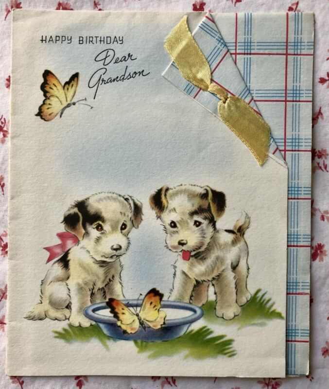 Vintage 1940s Birthday Greeting Card Puppy Dogs Butterflies Real