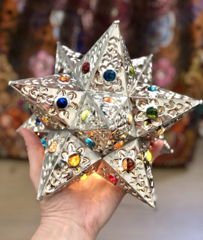 MEXICAN Punched TIN STAR w/ Colored Marbles, Star Lamp, Christmas Tree Topper