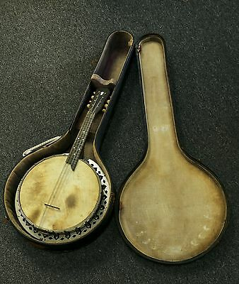 VINTAGE ANTIQUE BANJO MANDOLIN RESONATOR WITH ORIGINAL CASE FLORAL BACK COOL!