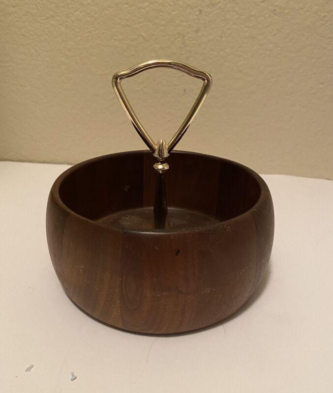 Vintage Walnut Snack Nut Bowl With Handle Black Walnut Heirloom