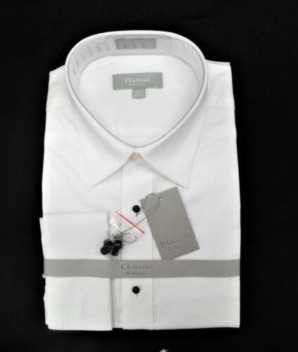 Platino All Cotton No Pleat Lay Down Collar Tuxedo Formal Shirt $29.99