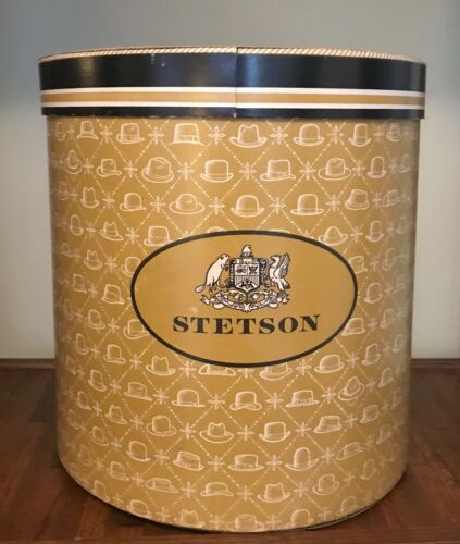 Antique 1965 Stetson Hat Box, Very Large - Comes w/ 3 Cardboard Hat Dividers