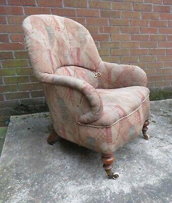 19th Century Upholstered  Armchair  Porcelain Castors needs reupholstered