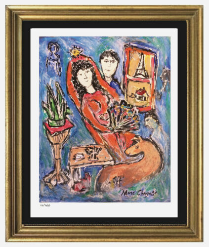 "Marc Chagall Signed/Hand-Numbered Ltd Ed ""Bride in Paris"" Litho Print(unframed)"