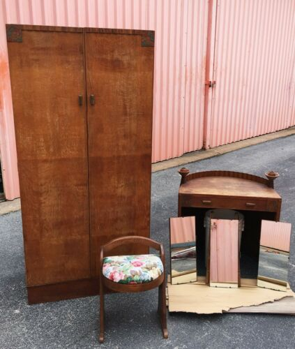 Antique Armoire, Mirrored Vanity and Stool; Mid Century