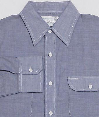 Vtg 70s Men's K-MART Long Sleeve Work Shirt MEDIUM Blue CHAMBRAY Thin Big Collar