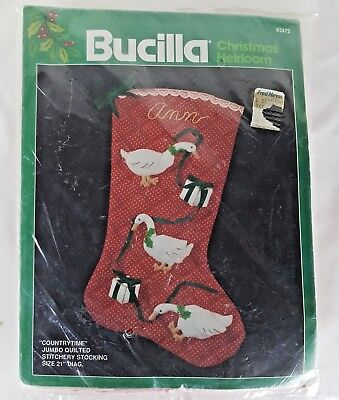 Bucilla Christmas Stocking Jumbo Quilted #82472 Countrytime 21