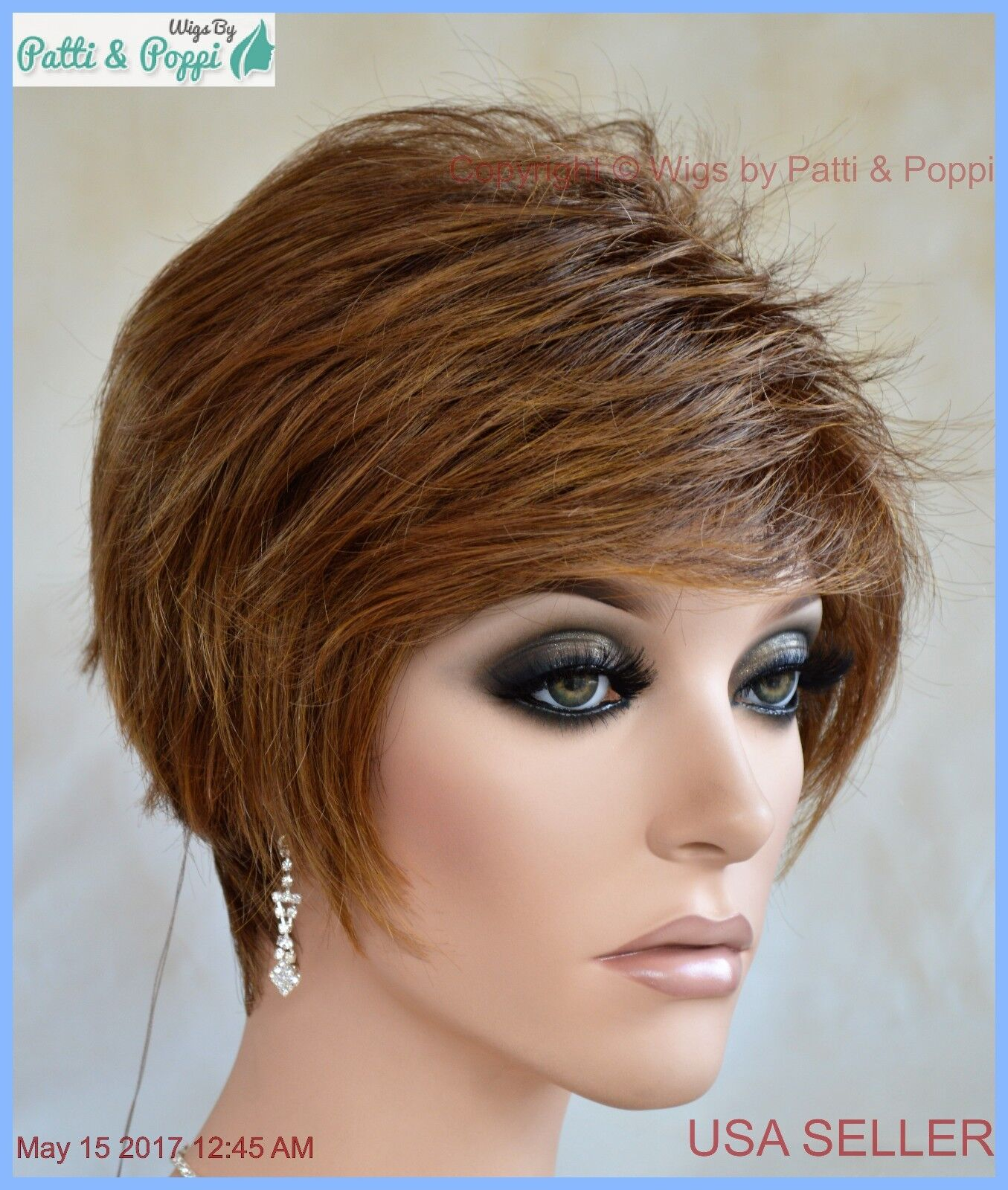 Synthetic Short Hair Wig For Women Color Marble Brown Cute Style