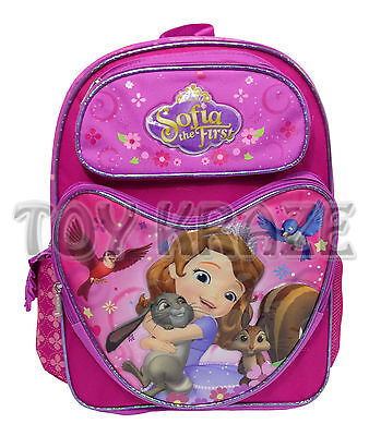 SOFIA THE FIRST BACKPACK! PINK HEART BIRDS LARGE SCHOOL BAG DISNEY 16
