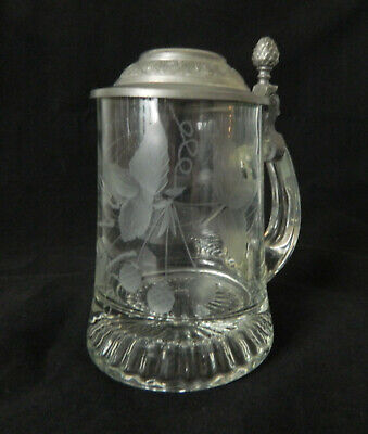 Vintage Crystal German Beer Stein with Pewter Lid Etched Glass Marked 6.5