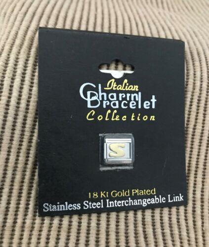 New Italian Charm Bracelet 18K Gold Plated Stainless Steel Link Letter S