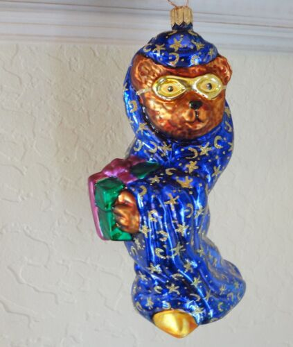 Christopher Radko Large Bear Ornament Blown Glass Wizard with Mask Poland