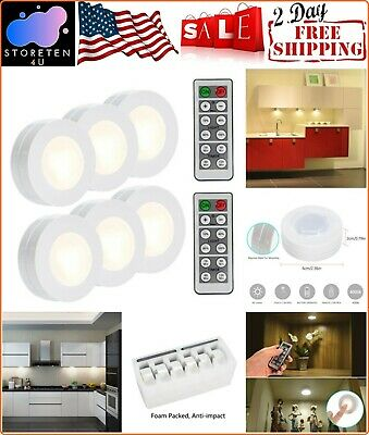 Wireless LED Kitchen Closet Lights Battery Operated With Remote Control 6 Pack