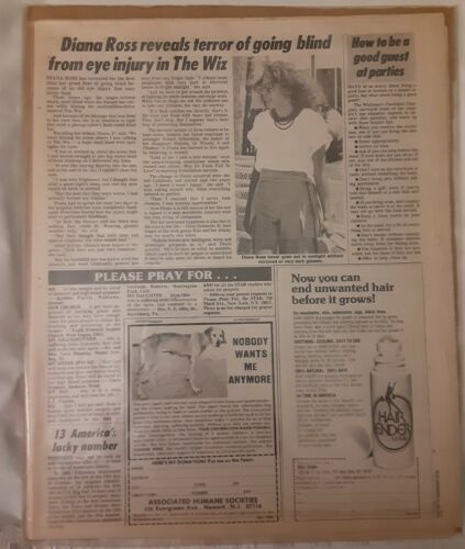 "STAR TABLOID DEC. 22, 1981 ISSUE ON DIANA ROSS INJURY TO EYE DURING ""THE WIZ"""
