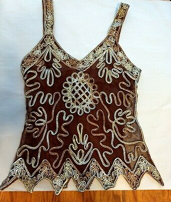 Pretty Angel Womens Size Small Brown Silk & Polyester Lace Embroidered Tank Top Embroidered Silk Polyester