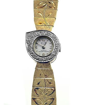 Vintage 40's Most Unusal Design by ROMOLO Diamonds Yellow Gold Ladies Watch for sale  Shipping to India