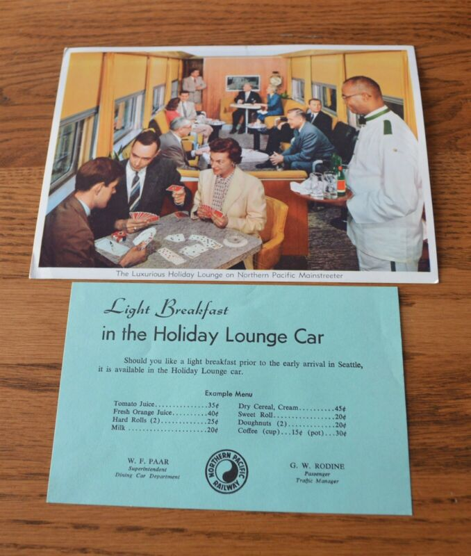 Vintage Northern Pacific Railroad Dining Car Menu & Postcard Holiday Lounge Car