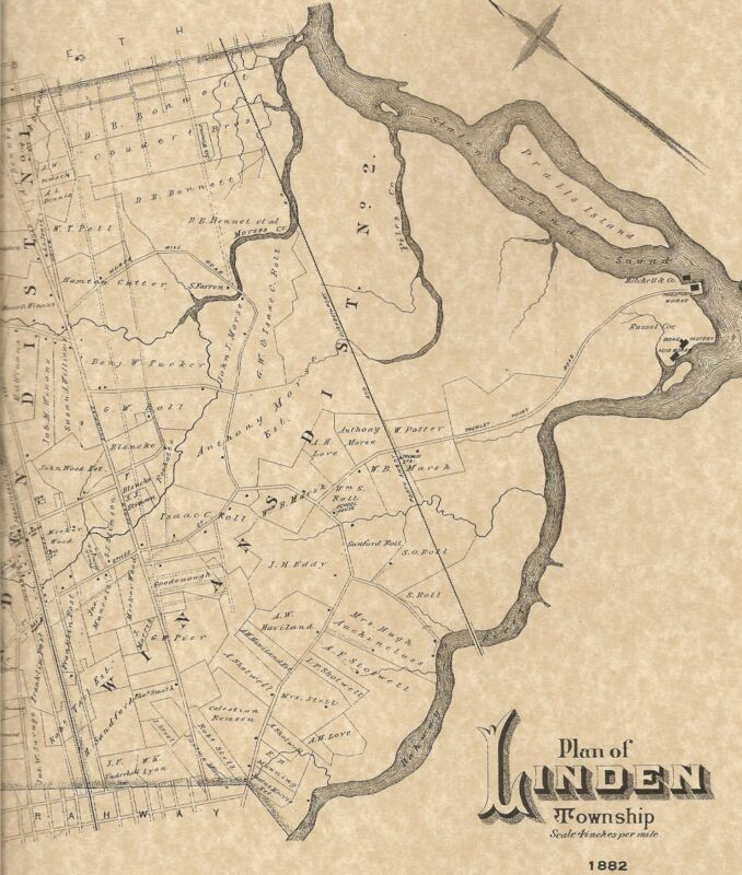 Linden NJ 1882  Maps with Businesses and Homeowners Names Shown