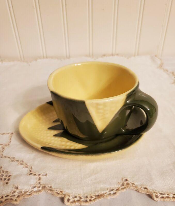 Vintage Shawnee Corn King Tea/Coffee Cup & Saucer Set, Oven Proof #90 & #91 Rare