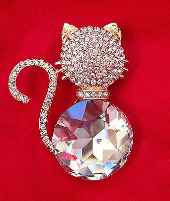 Cat Cat Art Jewelry Swarovski Elements Broach Brooch Pin #Cat Cat Cat #Cat USA
